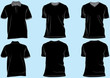 Shirt and tshirt set template with collar,v-neck and round neck.