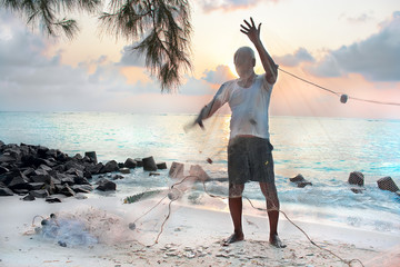 Fishermen with net in the early morning