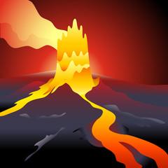 Volcano eruption over night burning sky