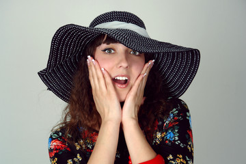 woman in hat happy emotion portrait