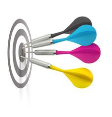 Cmyk darts hitting target