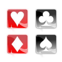 Picto noir rouge jeu cartes - Icon black red poker