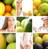 Collage showing different dieting and nutrition images poster