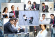 Collage made of young business people working together