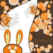roleta: Decorative card with rabbit