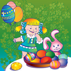 Little girl with easter bunny and plate of paschal eggs.