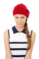 Portrait of girl in red hat