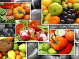 Collage showing different nutrition images poster