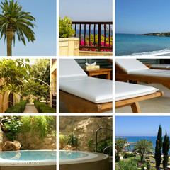 Collage showing different resort images