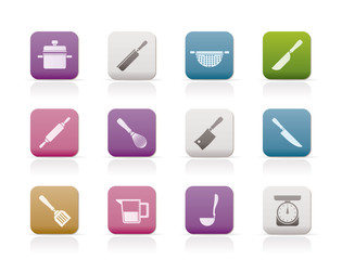 Cooking equipment and tools icons - vector icon set