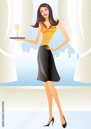 beautiful waitress in apron holding coctail in new york