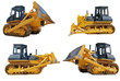 set of bulldozers loaders