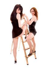 girls with stepladder