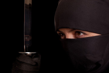 woman in ninja suit
