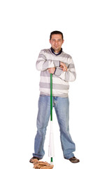Casual Man Posing with a Sweeper