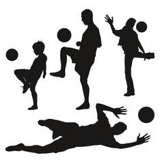Silhouettes de footballeurs