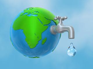 Wasserhahn kommt aus der Welt