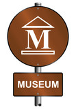 Museum graphic and text sign mounted on post poster