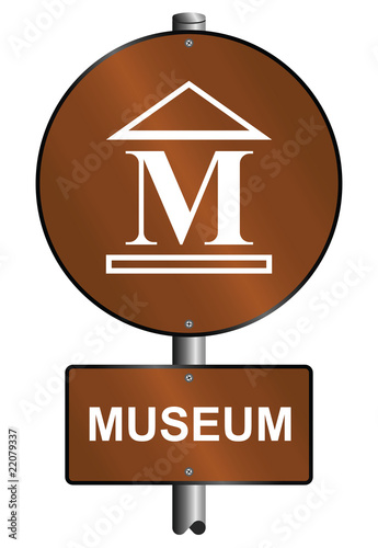 poster of Museum graphic and text sign mounted on post