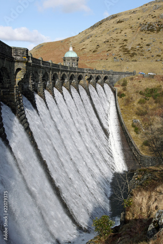 Craig Goch dam overflowing with water, Elan Valley Wales. - 22079375