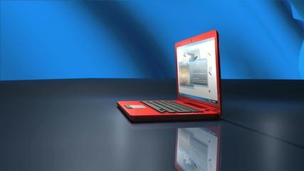 赤いノートPC
