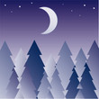 illustration with dark forest silhouette illuminated by moon
