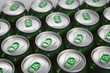 Aluminum cans with keys close-up, focus on center..