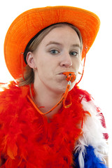 Dutch soccer fan over white background
