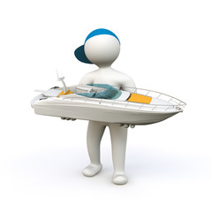 3D Man with Boat
