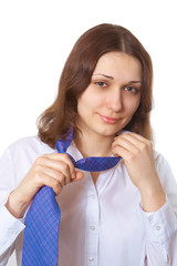 woman takes off his tie