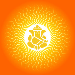 Lord Ganesha on Sun Burst Background