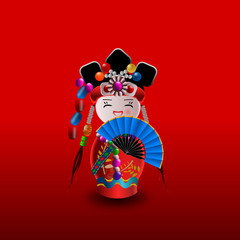 Chinese doll in red with blue fan