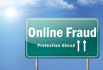 "Highway Sign ""Online Fraud - Protection Ahead"""