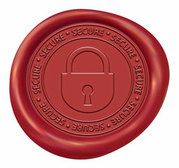 Lock - Secure Sign Red Wax Seal