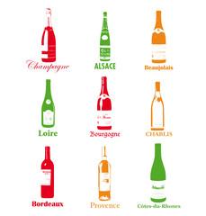 Pictos de bouteilles de vins français