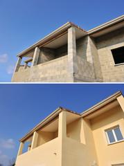 Détail d'une façade de maison, avant, après.