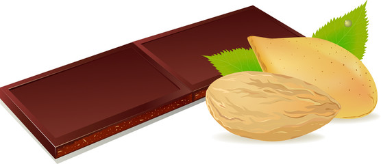 vector illustration of chocolate and almonds