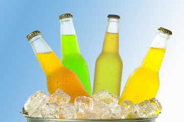 Beverages with different color in glass bottles