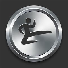 Karate Icon on Metal Internet Button