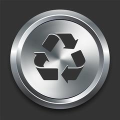 Pollution Symbol Icon on Metal Internet Button