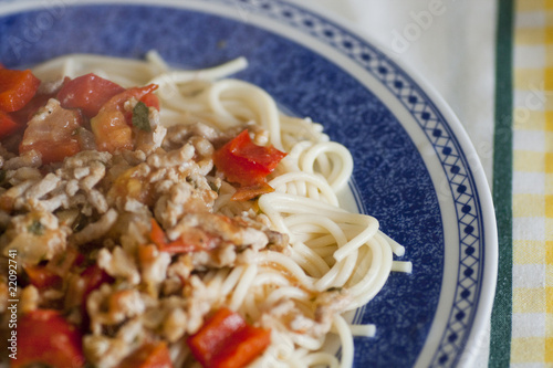Meat with sphaguetti