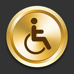 Wheelchair on Golden Internet Button