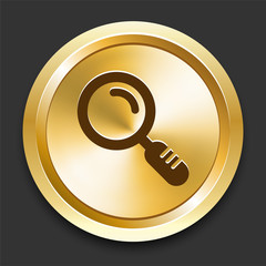 Magnifying Glass on Golden Internet Button