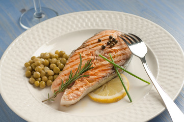 grilled salmon with fork on dish