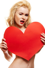 Beautiful woman with big red heart