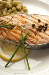 grilled salmon on dish