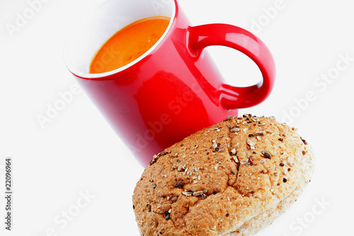 Poster Cup of Tomato Soup with Brown Roll