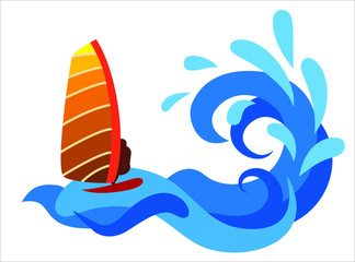 Surfer on the sea. Abstract illustration.