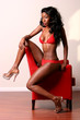 Sexy African American woman in red lingerie