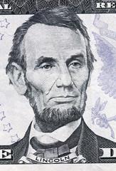 Portrait linkoln on five American dollars